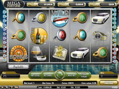Mega Fortune Fun Slots by NetEnt with 5 Reel and 25 Line