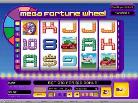 Mega Fortune Wheel Fun Slots by bwin.party with 5 Reel and 9 Line