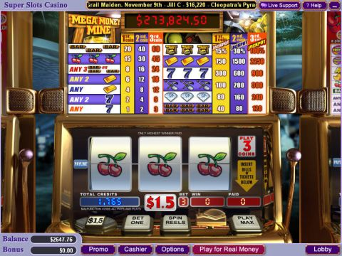 Mega Money Mine Fun Slots by WGS Technology with 3 Reel and 1 Line