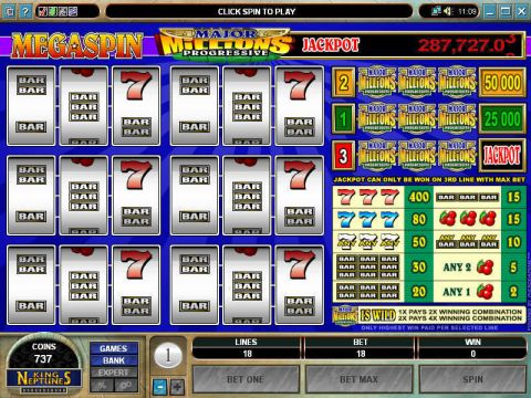 Mega Spin - Major Millions Fun Slots by Microgaming with 3 Reel and 3 Line