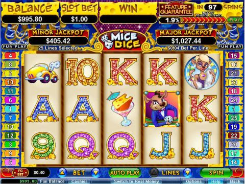 Mice Dice Fun Slots by RTG with 5 Reel and 25 Line