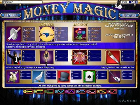Money Magic Fun Slots by Rival with 5 Reel and 9 Line