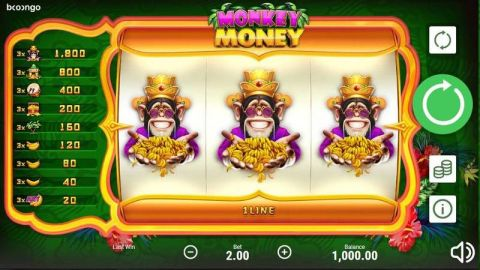 Monkey Money Fun Slots by Booongo with 3 Reel and 1 Line