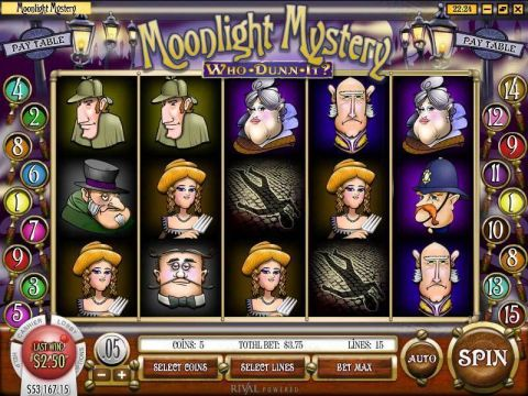 Moonlight Mystery Fun Slots by Rival with 5 Reel and 15 Line