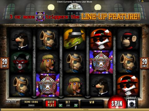 Mugshot Madness Fun Slots by Microgaming with 5 Reel and 20 Line