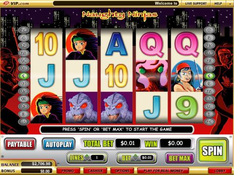 Naughty Ninjas Fun Slots by WGS Technology with 5 Reel and 25 Line
