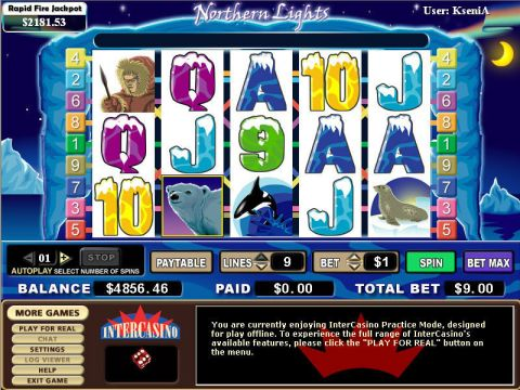 Northern Lights Fun Slots by CryptoLogic with 5 Reel and 9 Line