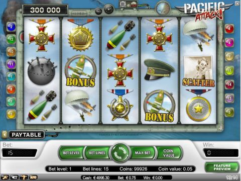 Pacific Attack Fun Slots by NetEnt with 5 Reel and 15 Line