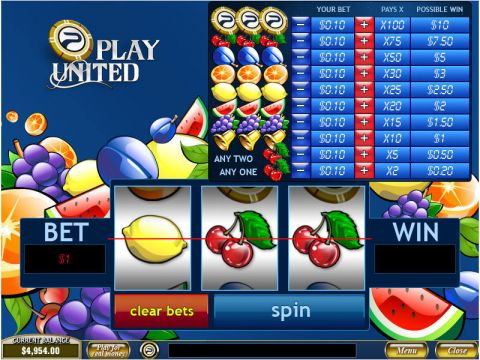 Play United Fun Slots by PlayTech with 3 Reel and 1 Line