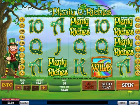 Plenty O'Riches Fun Slots by PlayTech with 5 Reel and 20 Line