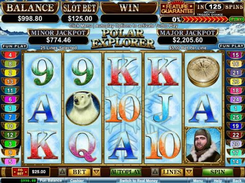 Polar Explorer Fun Slots by RTG with 5 Reel and 25 Line
