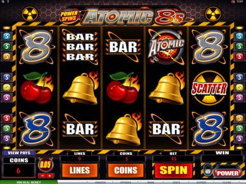 Power Spins - Atomic 8's Fun Slots by Microgaming with 5 Reel and 9 Line