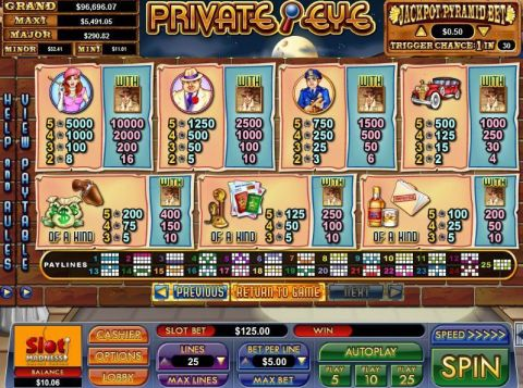 Private Eye Fun Slots by NuWorks with 5 Reel and 25 Line