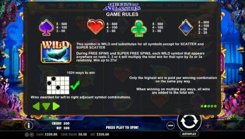 Queen of Atlantis Fun Slots by Pragmatic Play with 5 Reel and 1024 Way