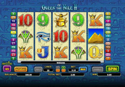 Queen of the Nile II Fun Slots by Aristocrat with 5 Reel and 25 Line