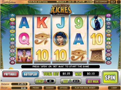 Ramesses Riches Fun Slots by WGS Technology with 5 Reel and 25 Line