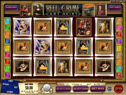 Reel Crime 2 Art Heist Fun Slots by Rival with 5 Reel and 15 Line