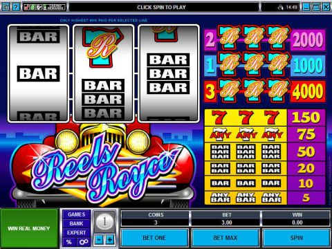 Reels Royce Fun Slots by Microgaming with 3 Reel and 3 Line