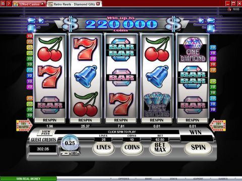 Retro Reels - Diamond Glitz Fun Slots by Microgaming with 5 Reel and 25 Line
