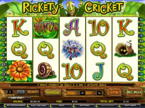 Rickety Cricket Fun Slots by Amaya with 5 Reel and 25 Line