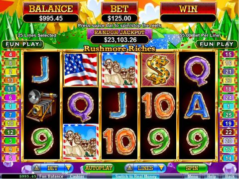 Rushmore Riches Fun Slots by RTG with 5 Reel and 25 Line