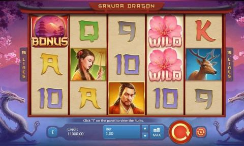Sakura Dragon Fun Slots by Playson with 5 Reel and 15 Line