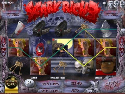 Scary Rich 3 Fun Slots by Rival with 5 Reel and 50 Line