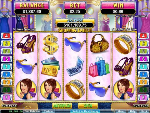 Shopping Spree 2 Fun Slots by RTG with 5 Reel and 9 Line