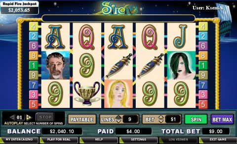 Sirens Fun Slots by CryptoLogic with 5 Reel and 9 Line