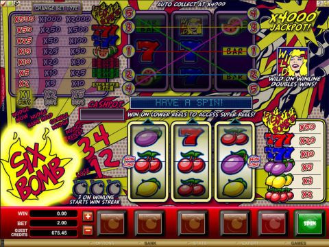Six Bomb Fun Slots by Microgaming with 3 Reel and 1 Line