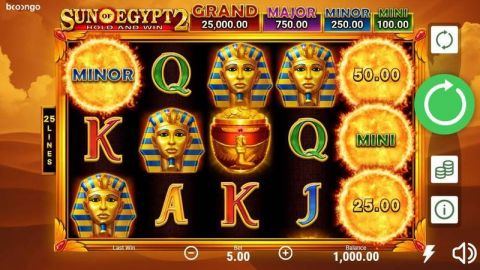 Sun of Egypt 2 Fun Slots by Booongo with 5 Reel and 25 Line