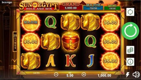 Sun Of Egypt Fun Slots by Booongo with 5 Reel and 25 Line