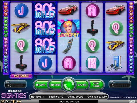 Super Eighties Fun Slots by NetEnt with 5 Reel and 40 Line