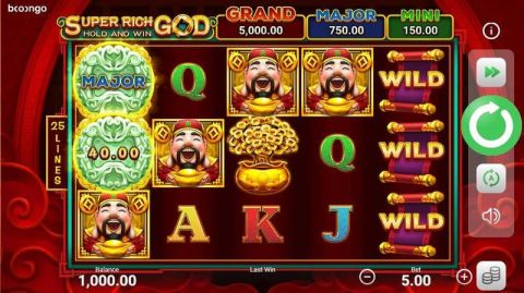 Super Rich God: Hold and Win Fun Slots by Booongo with 5 Reel and 25 Line