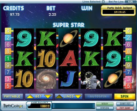 Super Star Fun Slots by bwin.party with 5 Reel and 9 Line
