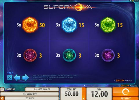Supernova Fun Slots by Quickspin with 3 Reel and 27 Line