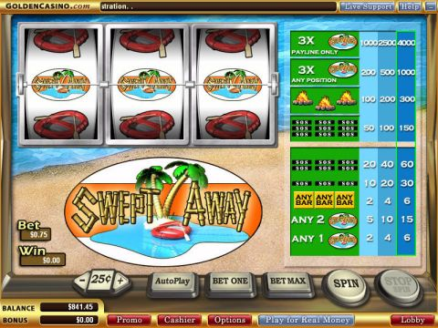 Swept Away Fun Slots by WGS Technology with 3 Reel and 1 Line