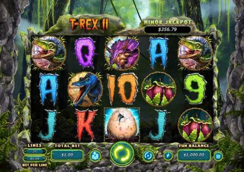 T-Rex II Fun Slots by RTG with 5 Reel and 25 Line