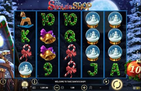 Take Santa's Shop Fun Slots by BetSoft with 5 Reel and 75 Lines