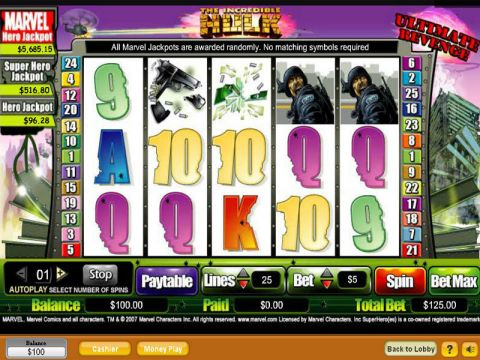 The Hulk Fun Slots by NeoGames with 5 Reel and 25 Line