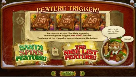 The Nice List Fun Slots by RTG with 5 Reel and 1024 Way