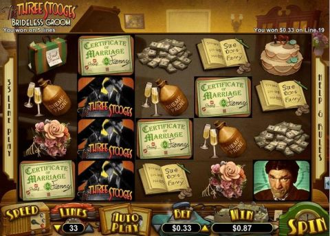 The Three Stooges Brideless Groom Fun Slots by RTG with 5 Reel and 30 Line