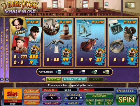 The Three Stooges Disorder in the Court Fun Slots by NuWorks with 3 Reel and 5 Line
