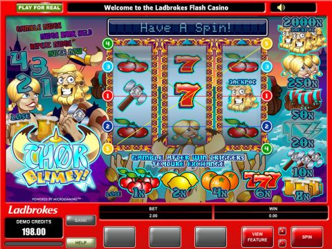 Thor Blimey Fun Slots by Microgaming with 3 Reel and 5 Line