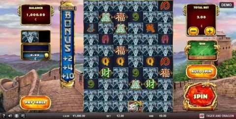 Tiger and Dragon Fun Slots by Red Rake Gaming with 6 Reel and
