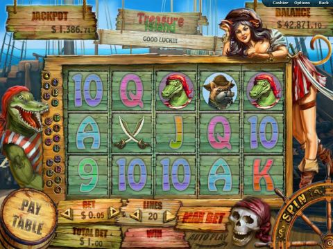 Treasure Island Fun Slots by RTG with 5 Reel and 20 Line