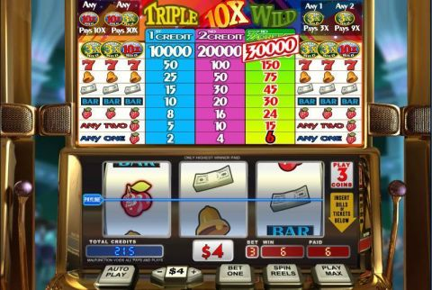 Triple 10x Wild Fun Slots by WGS Technology with 3 Reel and 1 Line