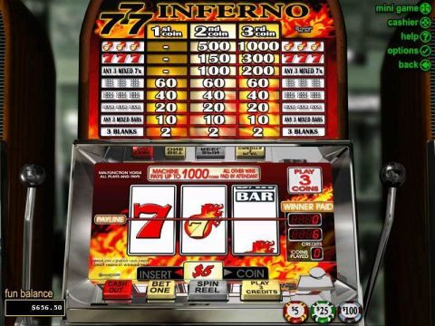 Triple 7 Inferno Fun Slots by RTG with 3 Reel and 1 Line