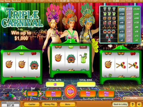 Triple Carnival Fun Slots by NeoGames with 3 Reel and 1 Line