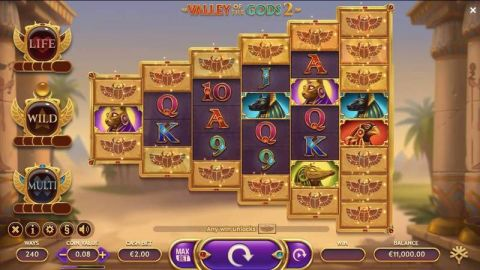 Valley of the Gods 2 Fun Slots by Yggdrasil with 5 Reel and 240 Ways